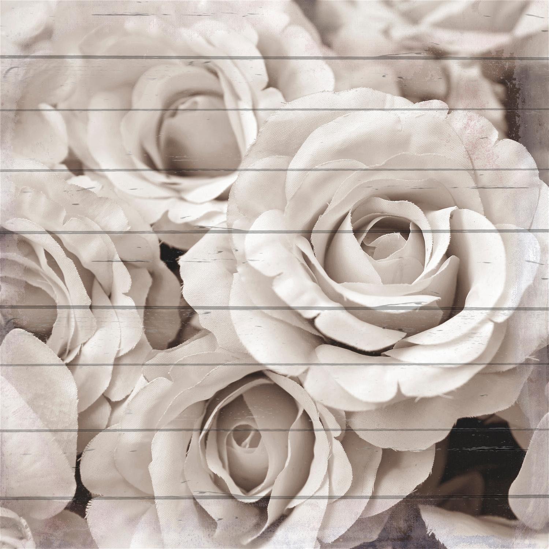Home affaire Holzbild »Blühende Rosen von oben«, 40/40 cm