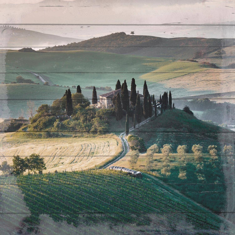 Home affaire Holzbild »Toskana-Landschaft«, 40/40 cm