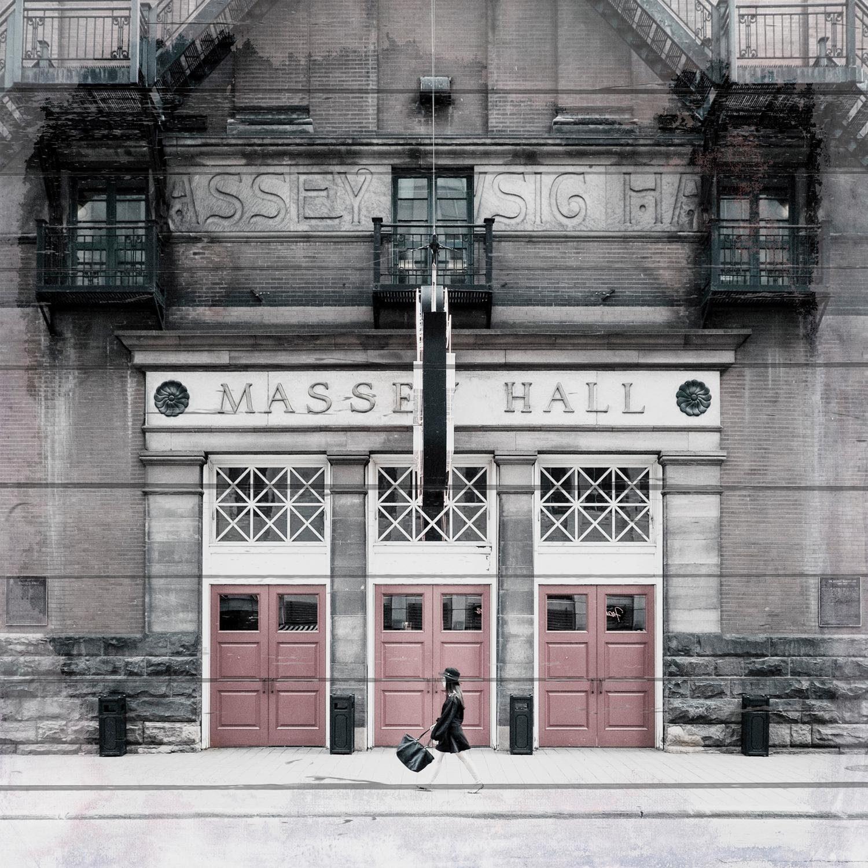 Home affaire Holzbild »Messe Hallen«, Gebäude, 40/40 cm
