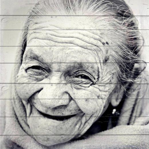 Home affaire Holzbild »Gesicht einer alten Frau«, 40/40 cm