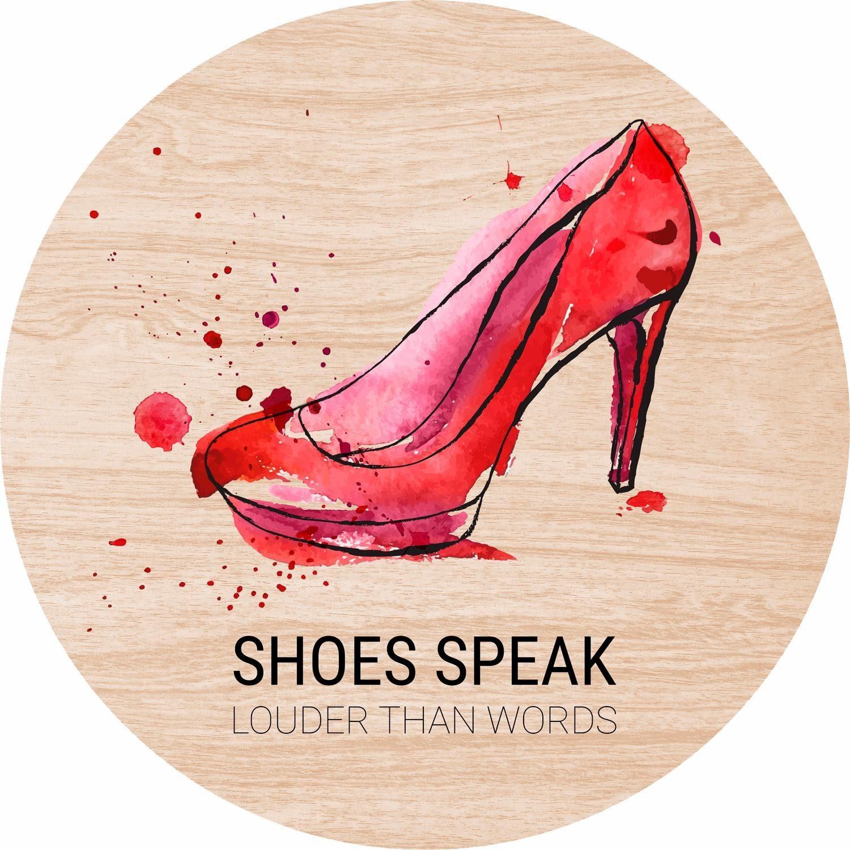 Home affaire Holzbild rund »Shoes speak« 30/30 cm