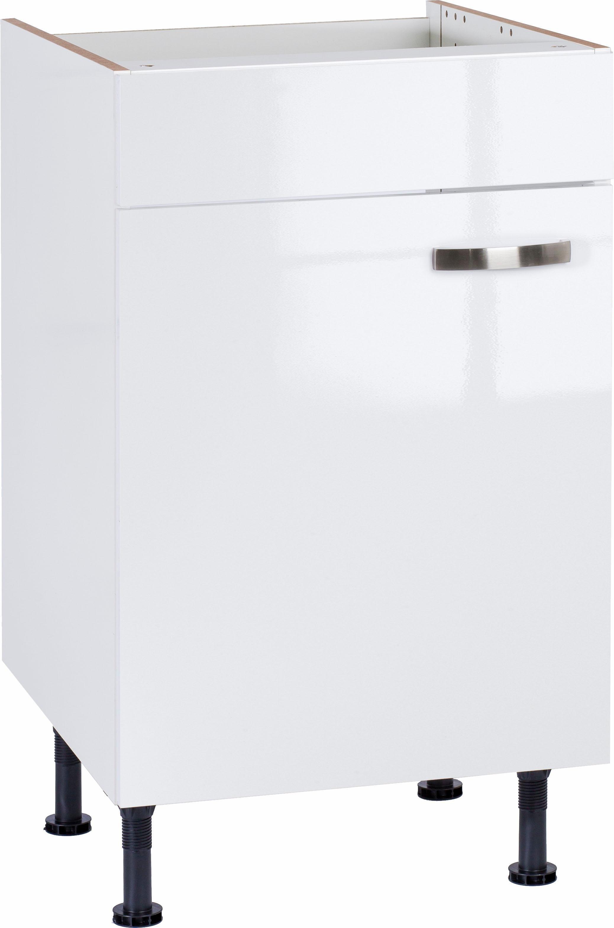 OPTIFIT »Cara« Spülenschrank, Breite 50 cm | Küche und Esszimmer > Küchenschränke > Spülenschränke | Anthrazit - Weiß - Glanz | Beton - Glänzend - Metall - Mdf - Melamin | OPTIFIT