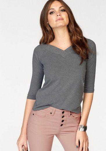 Melrose 3/4-Arm-Shirt, mit feinen Glitzersteinen