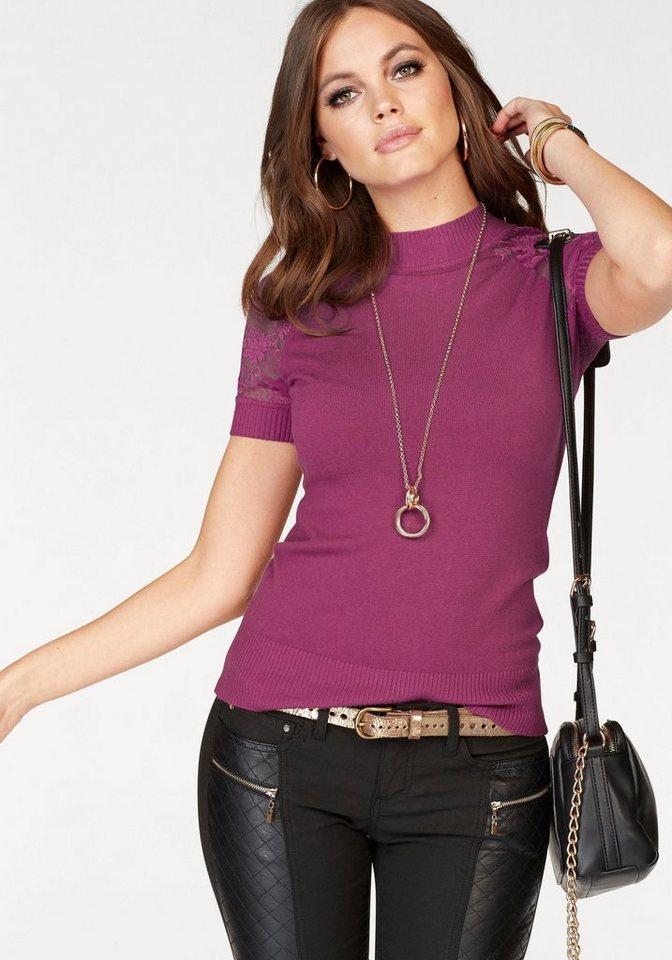 Melrose Kurzarmpullover mit Spitze | Bekleidung > Pullover > Kurzarmpullover | Rosa | Melrose