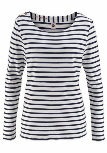 Scotch & Soda Langarmshirt, im maritimen Streifen Look mit Knöpfen auf der Schulter