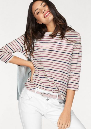 s.Oliver RED LABEL T-Shirt, im Streifen Look mit metallic Allover Print