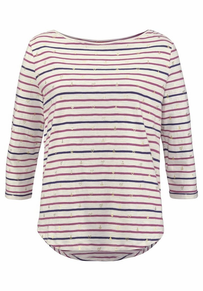 Damen s.Oliver RED LABEL T-Shirt, im Streifen Look mit metallic Allover Print blau, rosa | 04059502855058