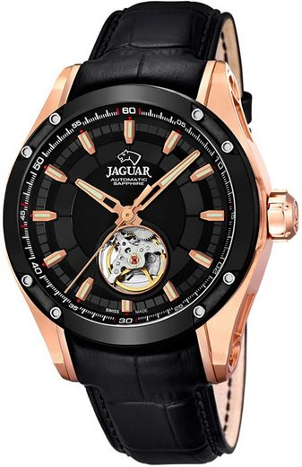 Jaguar Chronograph »UJ814/A Jaguar Herren Uhr Automatik J814/A Leder«, (Analoguhr), Herren Armbanduhr rund, Lederarmband schwarz, Elegant