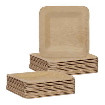 relaxdays Einwegteller »50 x Bambus Teller eckig 18 cm«