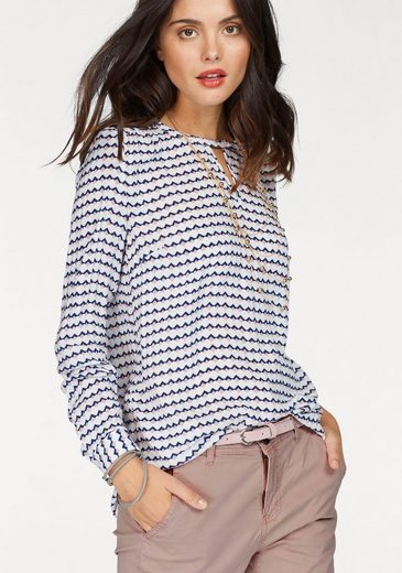 Fransa Print Blouse Macampa, With Great V-neck-detail