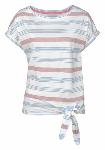 Tom Tailor Polo Team T-Shirt, am Saum zum Knoten