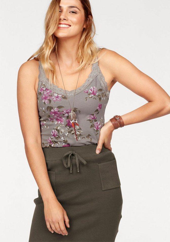 Boysen´s Longtop mit Spitze und Blumendruck   Bekleidung > Tops > Longtops   Braun   Baumwolle   Boysen´s