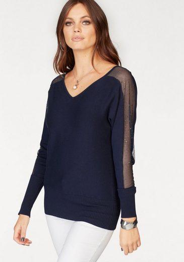 Melrose V-Ausschnitt-Pullover, mit Netzeinsatz und Glitzersteinen