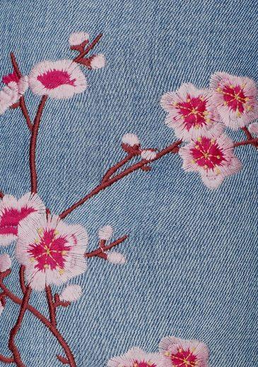 Melrose Röhrenjeans, mit Blüten Stickerei