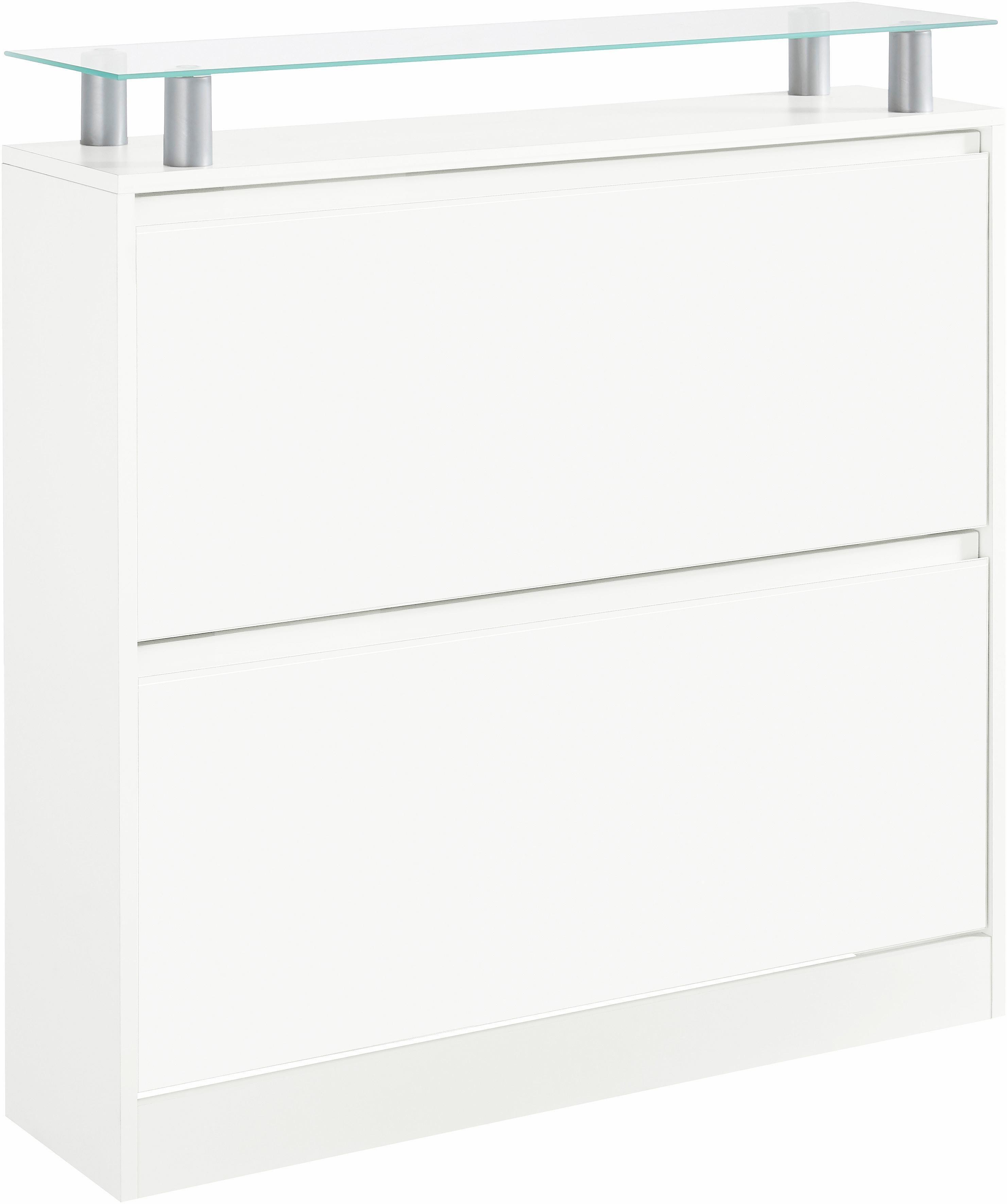 Borchardt Möbel Schuhschrank »Leo« | Flur & Diele > Schuhschränke und Kommoden > Schuhschränke | Weiß - Matt - Schwarz - Hochglanz - Glanz | Hochglanz - Melamin | borchardt Möbel