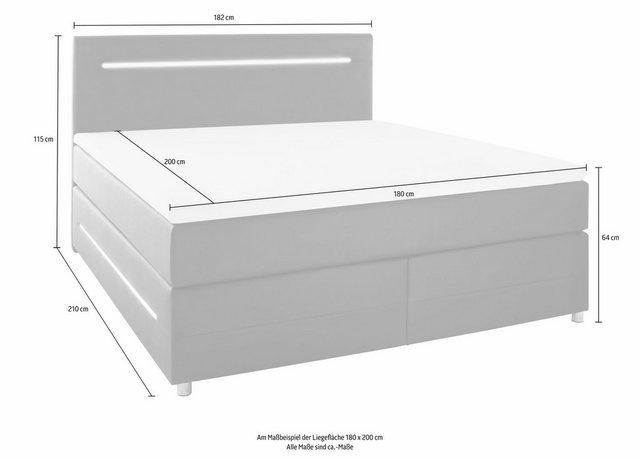 Betten - meise.möbel Boxspringbett, mit LED Beleuchtung, wahlweise mit Bettkasten › 181 cm x 210 cm › schwarz  - Onlineshop OTTO