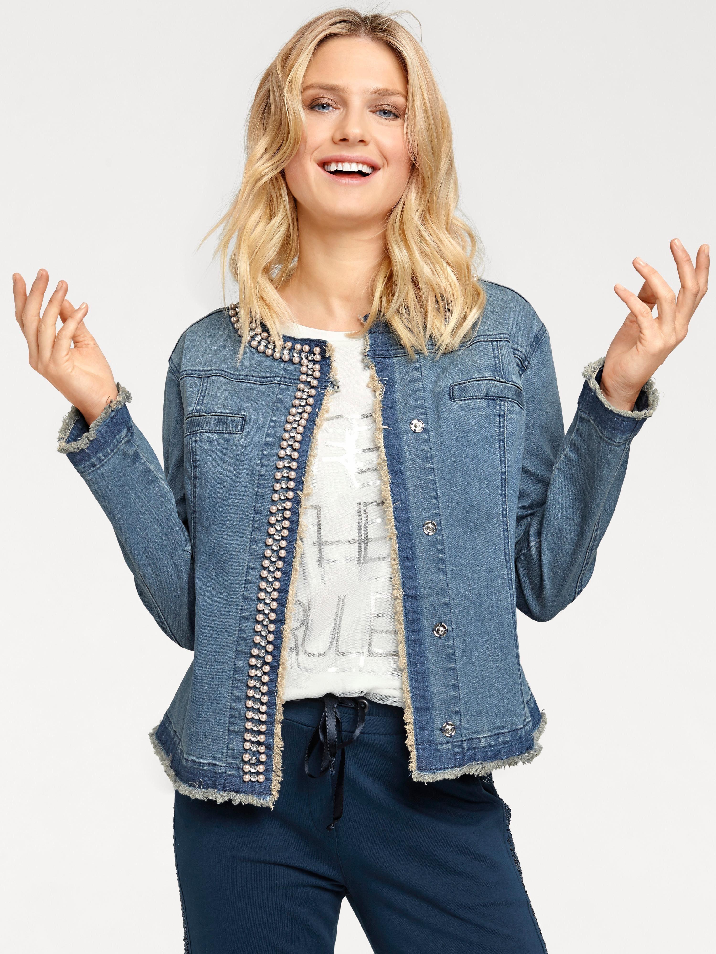 Damen Jeansjacke Mit Dekorativen Details%2c weiß%2c Länge ca. 56 cm Rick Cardona by Heine 9R5ZECoK14