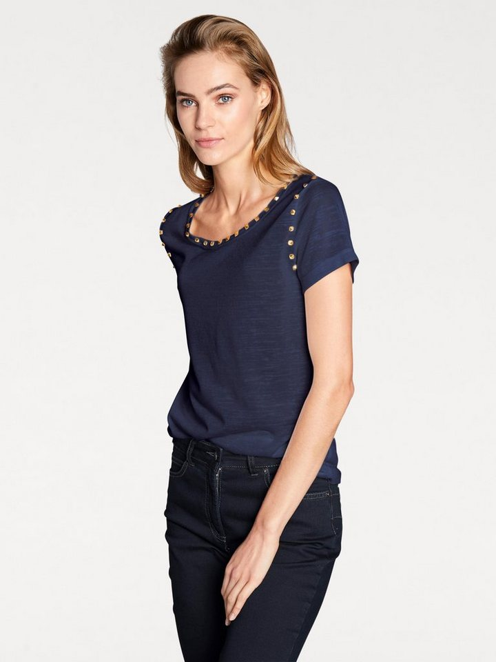 heine STYLE Rundhalsshirt Mit Nieten | Bekleidung > Shirts > Rundhalsshirts | Blau | Polyester | heine