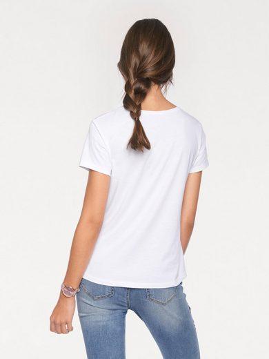 LINEA TESINI by Heine T-Shirt mit Blüten-und Schmuckapplikation