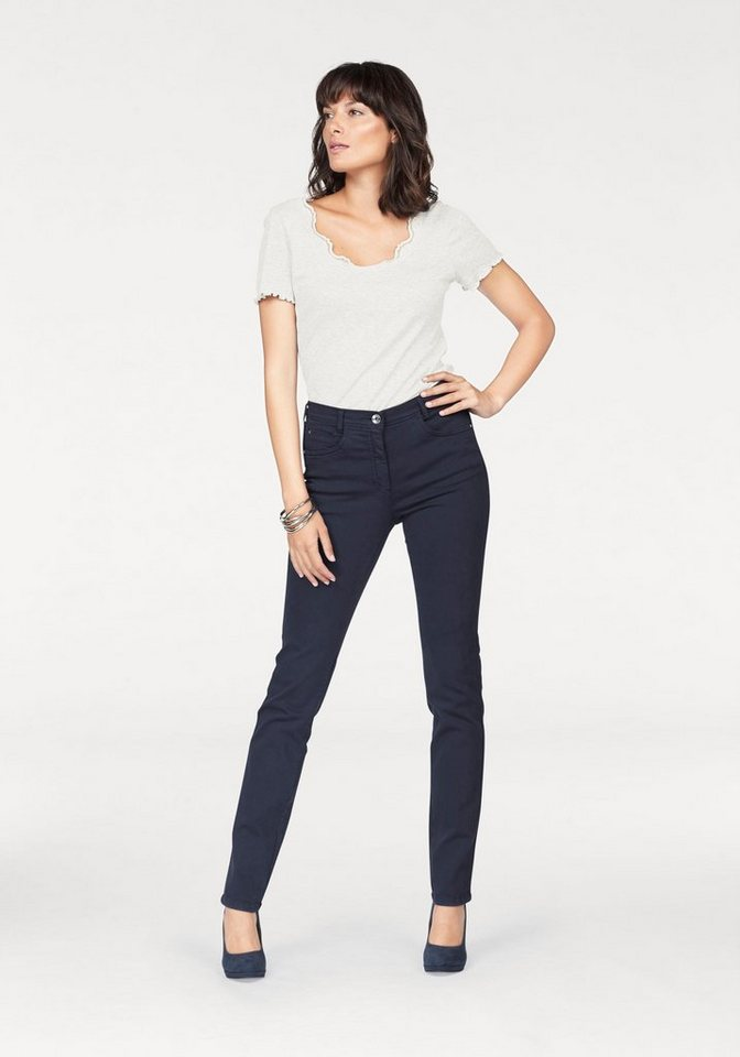 Damen Bodyright Slim-fit-Jeans, Moni, Bund hinten elastisch blau, rot   04059212275436