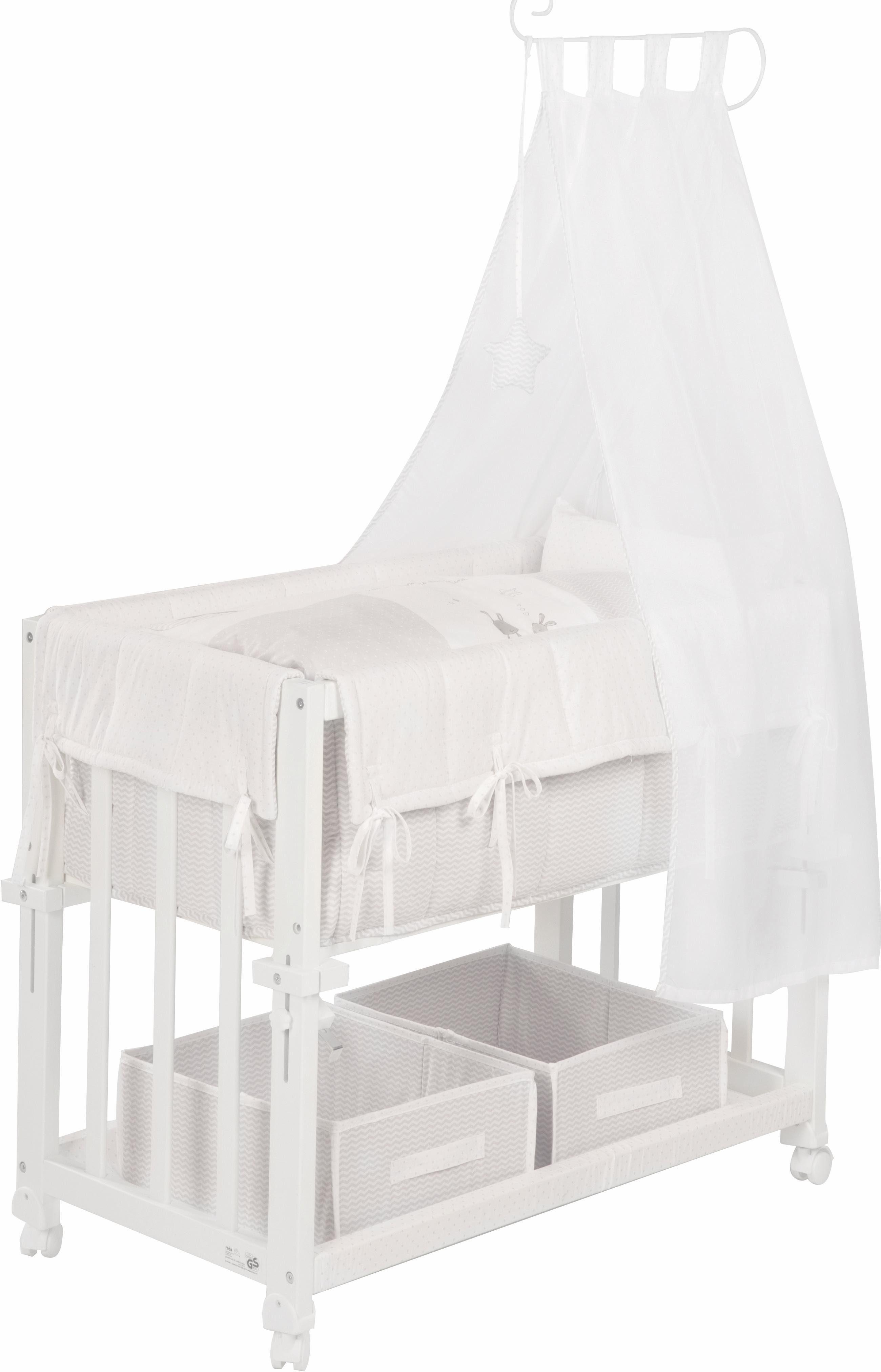 Roba Stubenbett Beistellbett 4in1 weiß lackiert inkl Textilien Indibär NEU