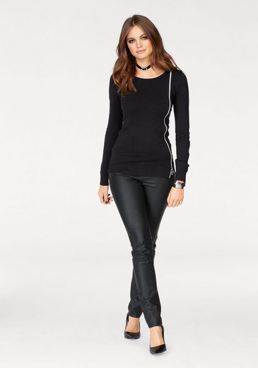 Melrose Crew-neck Sweater, With Side Zipper