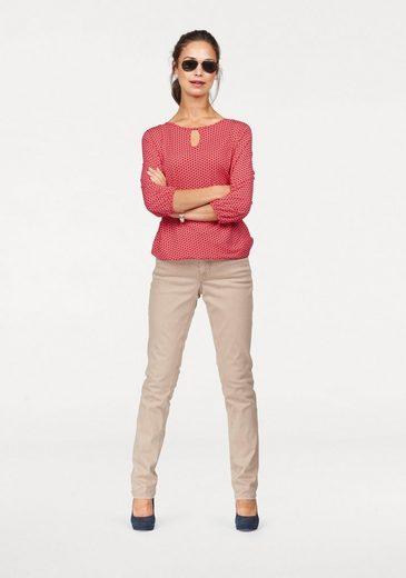 Olsen Rundhalsshirt, mit Tropfenausschnitt und elastischem Saum