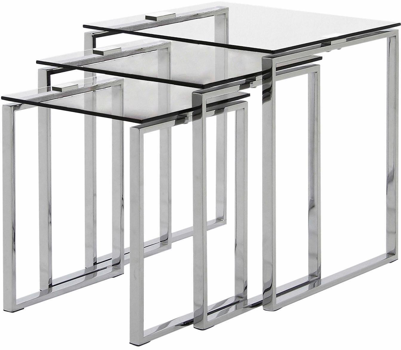 andas Beistelltisch »Karina« mit einer Glastischplatte aus klarem Glas und Chromgestell