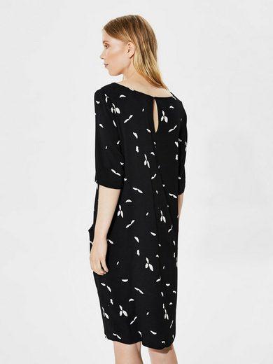 Selected Femme Print- Kleid mit kurzen Ärmeln