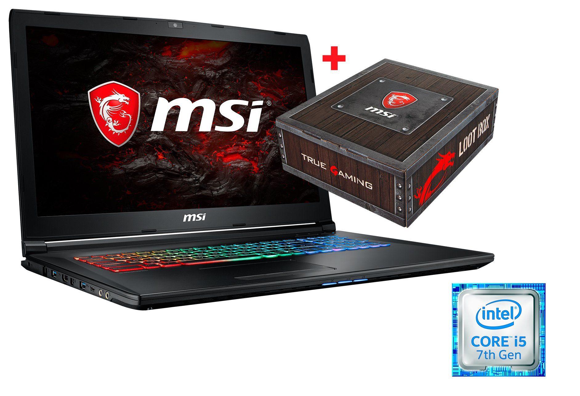 "MSI 17,3"", i5-7300HQ, 16GB, SSD + HDD, GeForce® GTX 1050 »GP72M 7RDX-893DE Loot Box Bundle«"