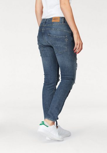 Please Jeans Boyfriend-Jeans P47G, mit unterlegten Destroyed-Effekten