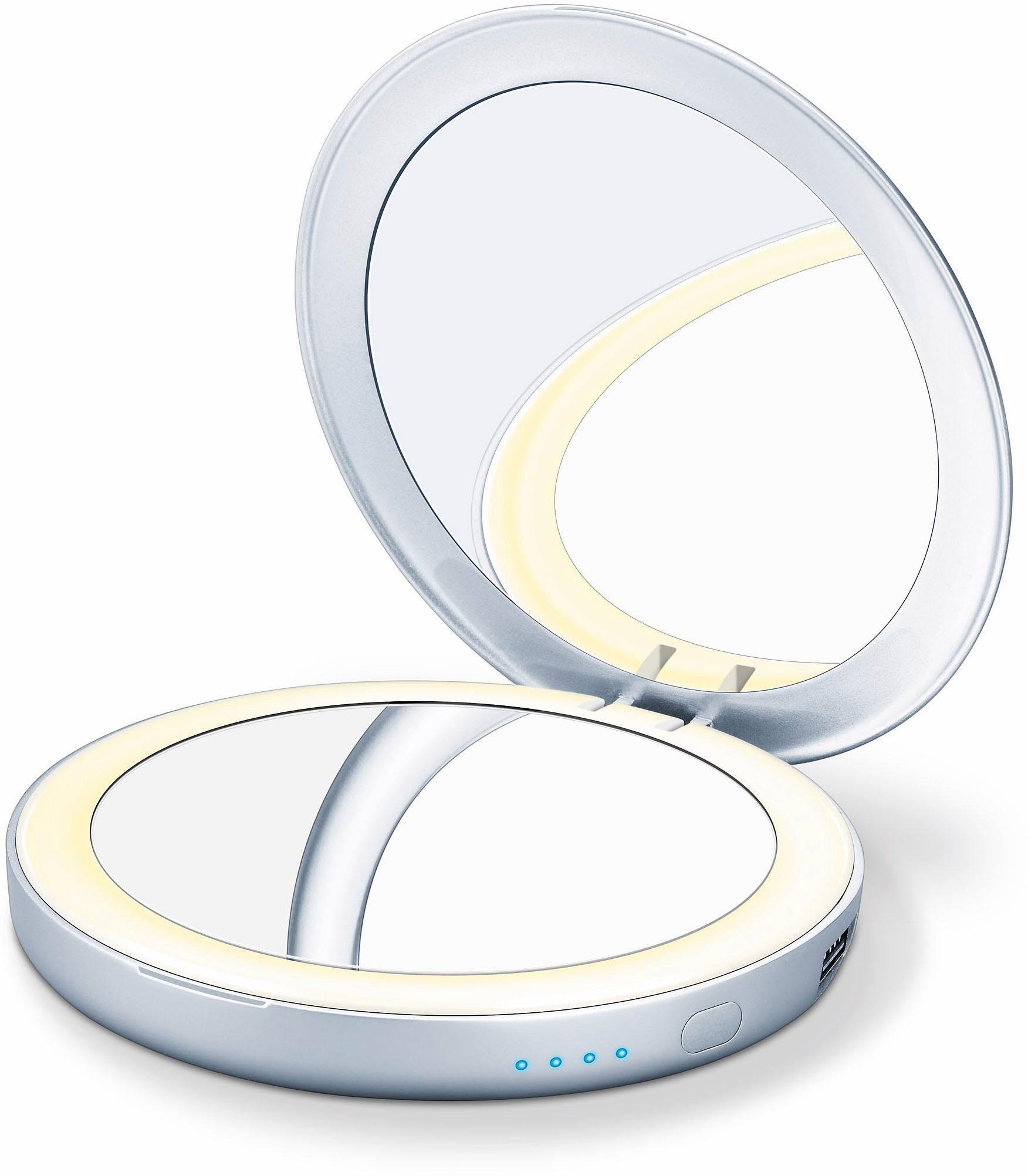 Beurer Beleuchteter Kosmetikspiegel BS 39, Integrierte Powerbank zum mobilen Aufladen von Smartphones, Tablets, E-Book-Readern, etc.