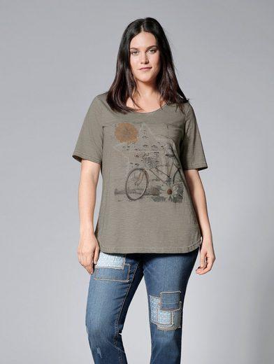 Janet und Joyce by Happy Size Shirt oil wash mit Pailletten