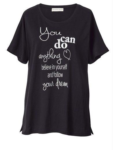 Janet und Joyce by Happy Size Shirt mit Statementprint