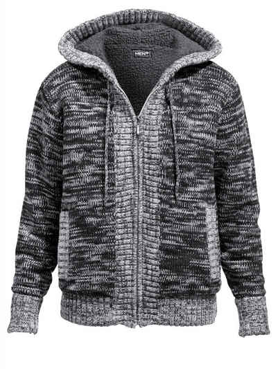50df5d44f8b580 Men Plus by Happy Size Strickjacke mit Kapuze und Teddyfutter