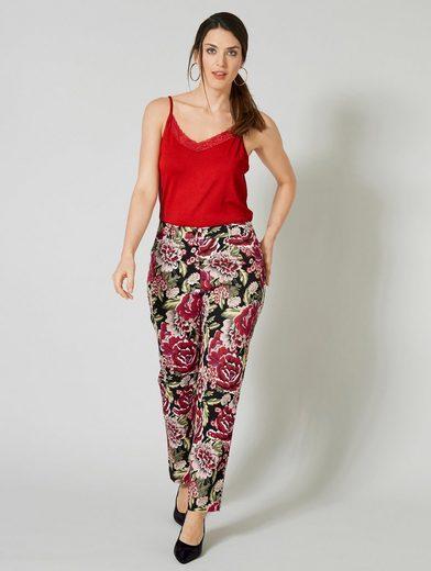 Sara Lindholm by Happy Size Stretch-Hose mit Blumen-Print