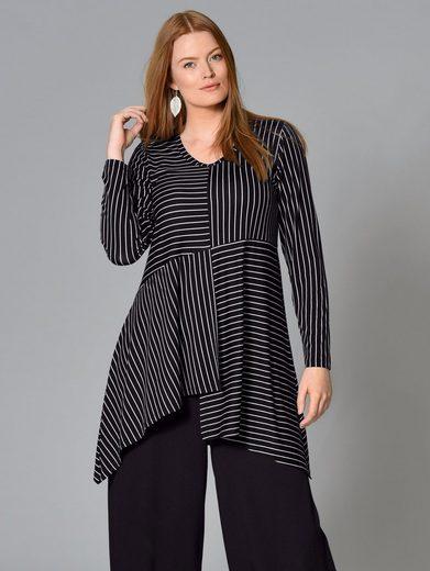 Sara Lindholm by Happy Size Jersey-Tunika mit Zipfelsaum