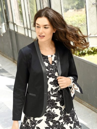 Sara Lindholm by Happy Size Blazer im Smoking-Stil mit Lederimitat-Revers