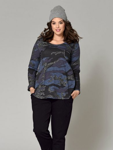 Angel of Style by Happy Size Shirt Camouflage mit Glitzer-Print