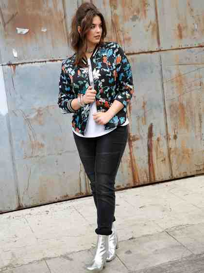 Angel of Style by Happy Size Blouson mit Blumen-Print