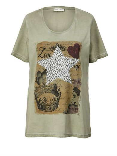Janet und Joyce by Happy Size Shirt oil wash mit Pailletten