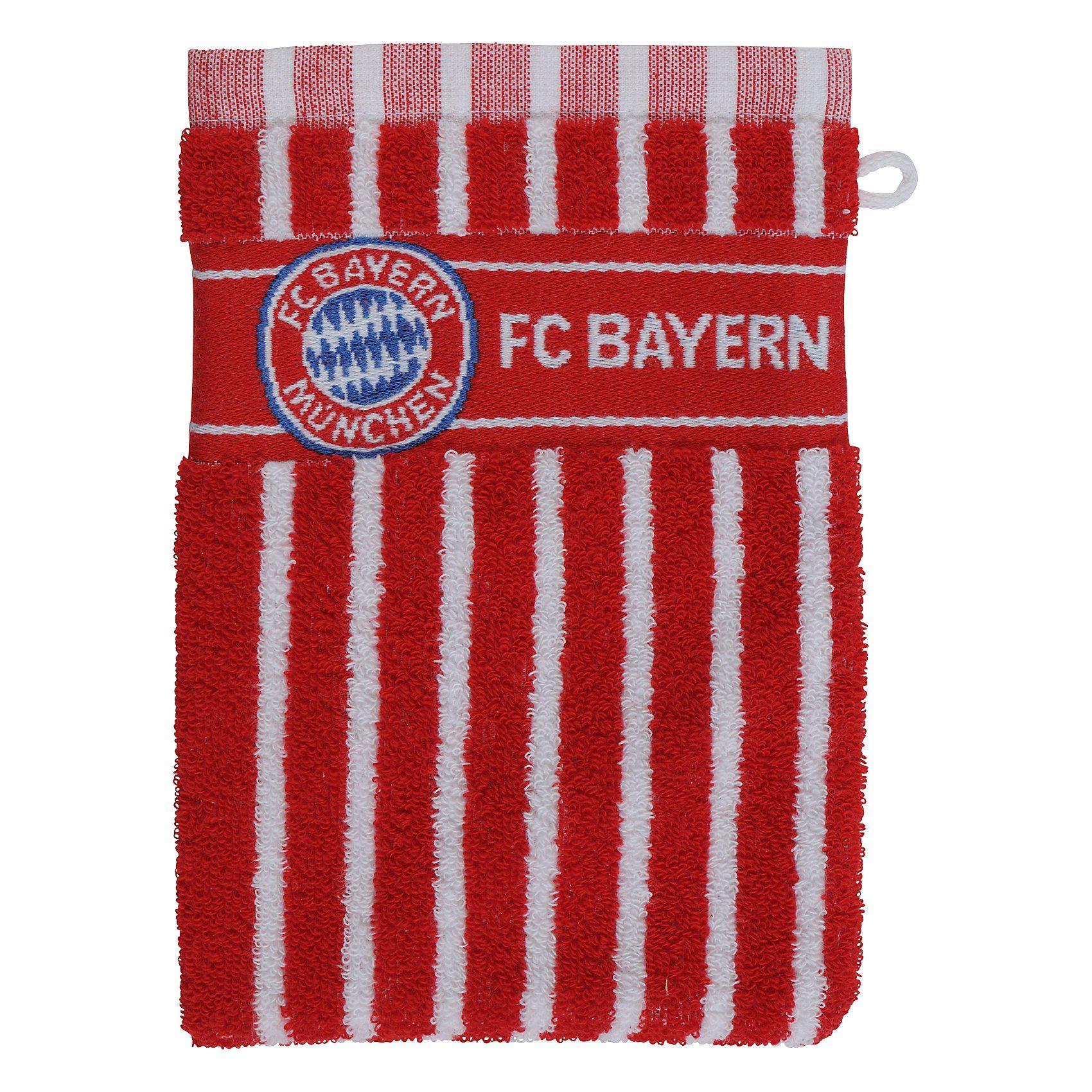 Waschhandschuh FCB, rot/weiß, 16 x 21,5 cm