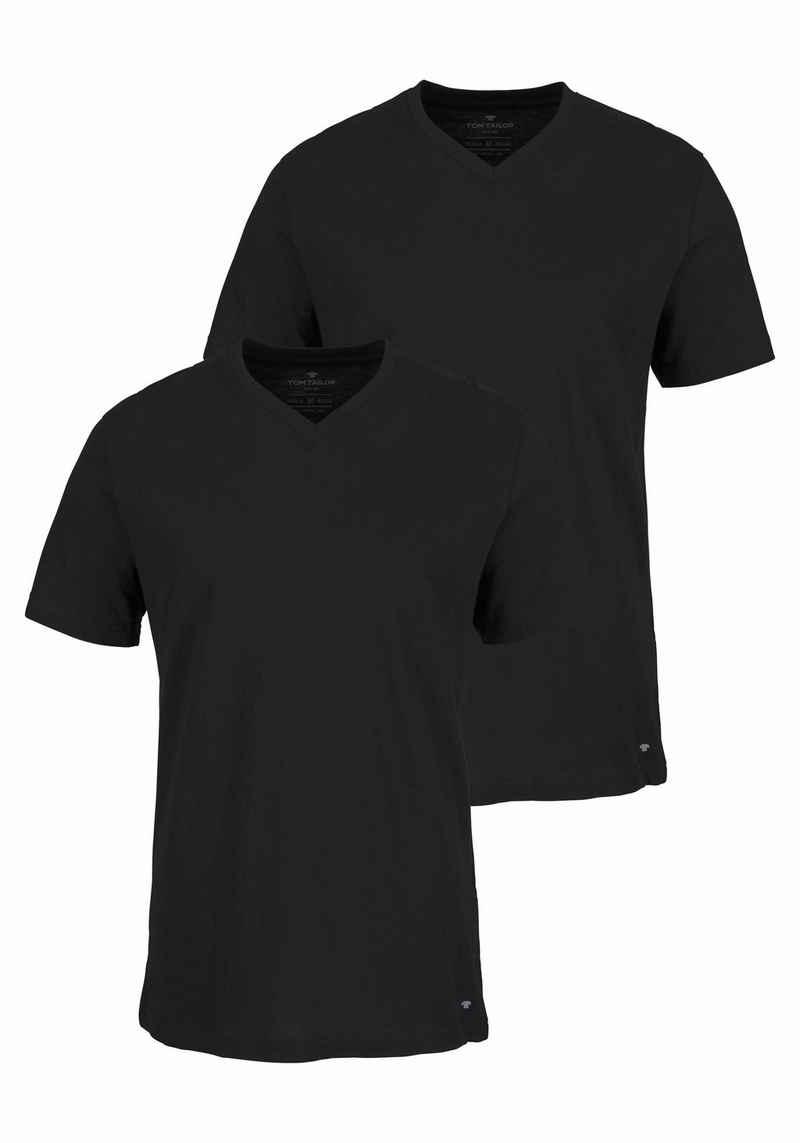 TOM TAILOR T-Shirt (2er-Pack) mit V-Ausschnitt