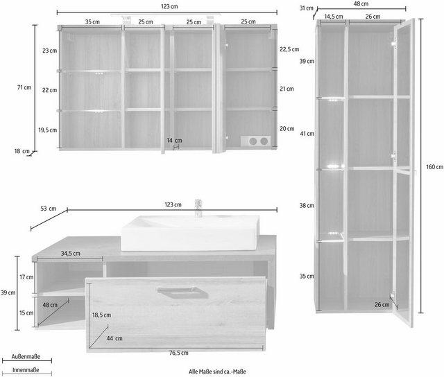 Badezimmer Sets - trendteam Badmöbel Set »Bay«, (Set, 3 tlg), mit Mineralgussbecken  - Onlineshop OTTO