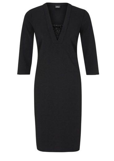 S.oliver Robe Noire En Crêpe Avec Pierres Précieuses