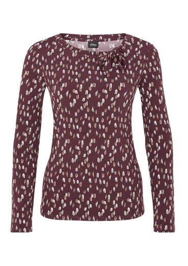 s.Oliver BLACK LABEL Jersey-Shirt mit Bindeschluppe