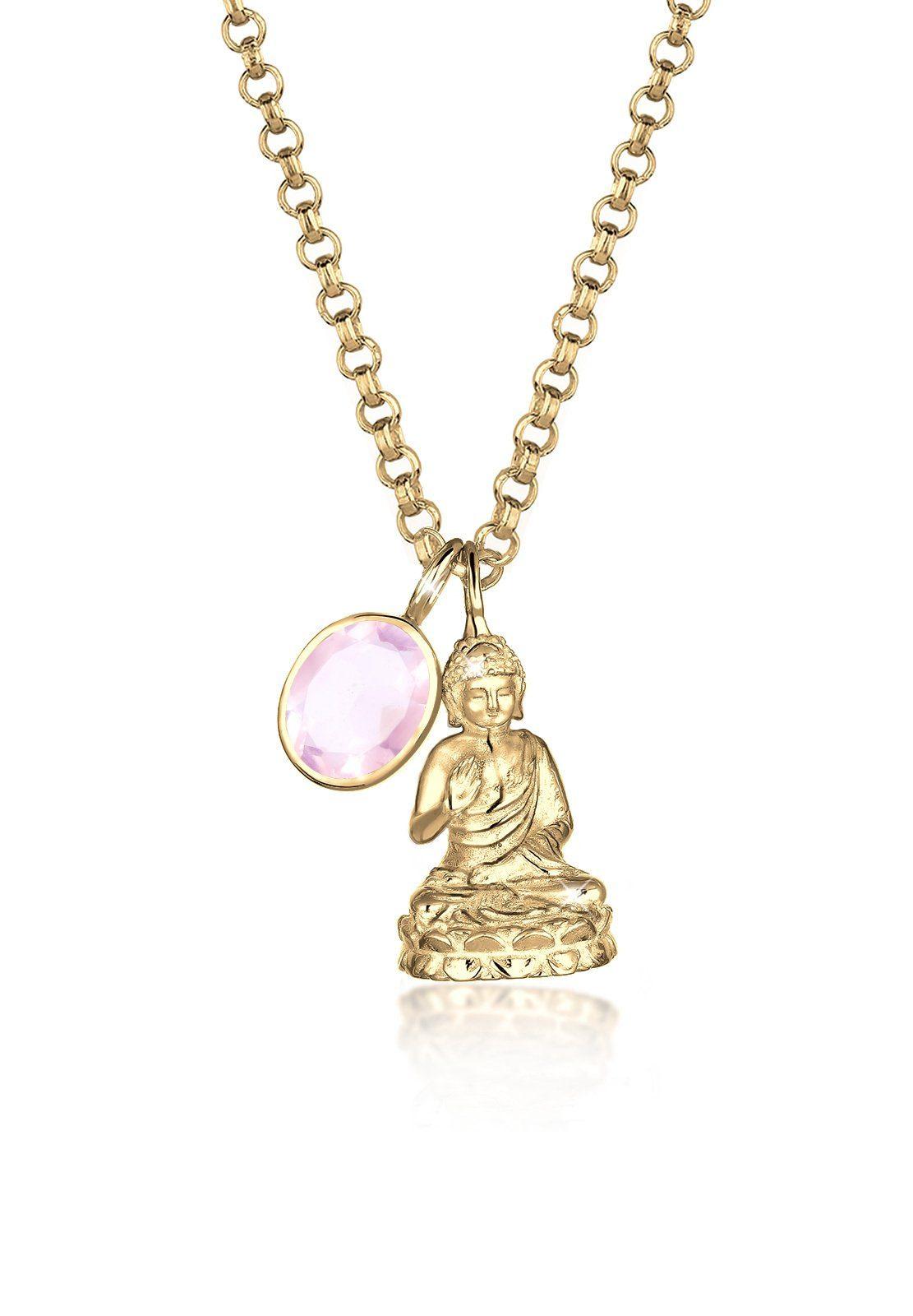 Elli Halskette »925 Silber Buddha Rosenquarz vergoldet«