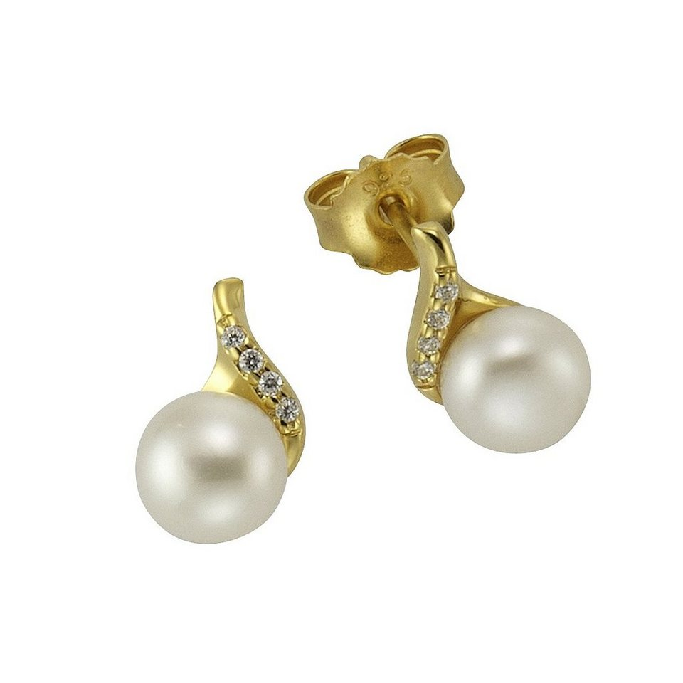 geschickte Herstellung begrenzter Verkauf Outlet-Boutique Firetti Ohrstecker »925/- Silber vergoldet Perle & Zirkonia«, Verziert mit  je 4x Zirkonia-Steinen online kaufen | OTTO