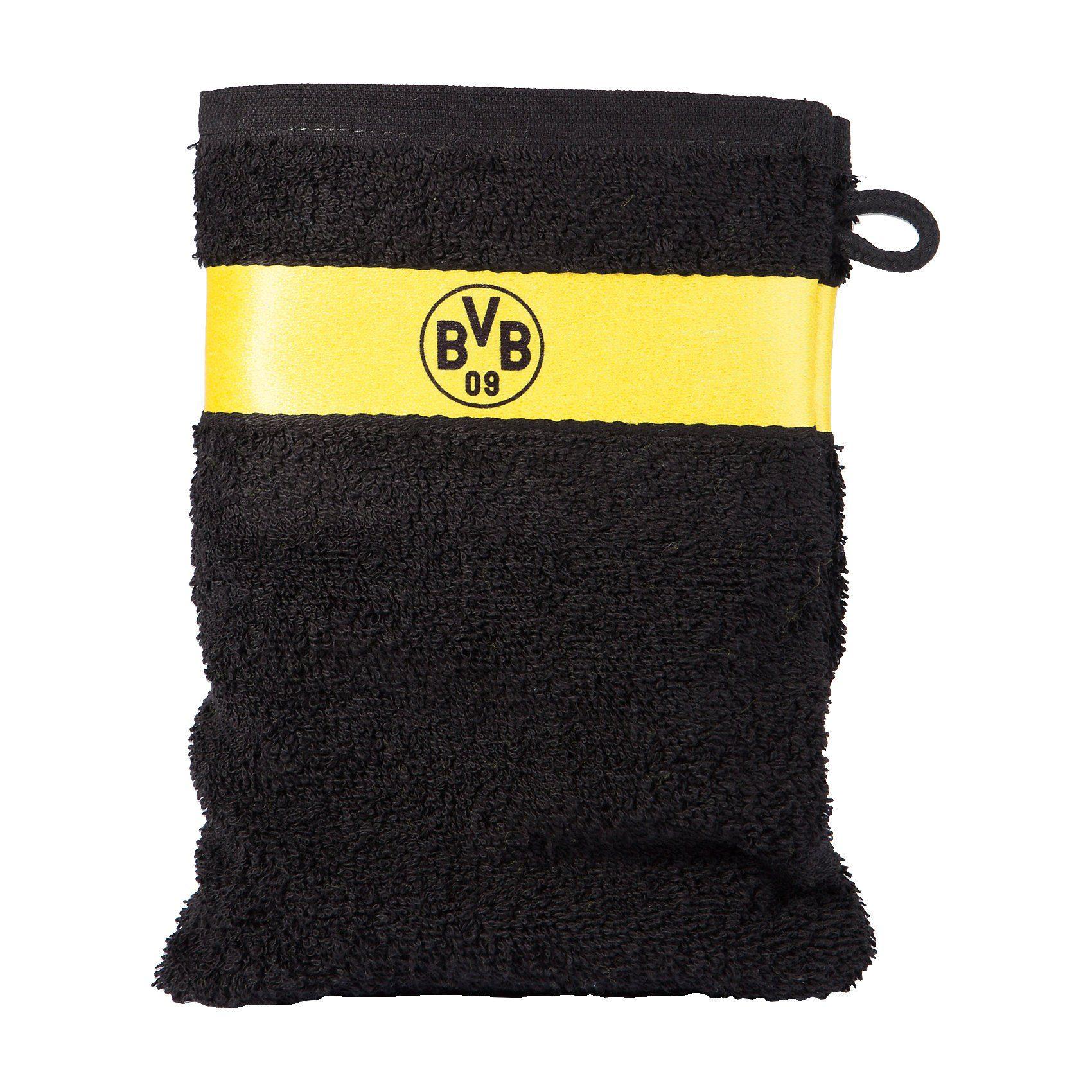Borussia Dortmund Waschhandschuh BVB, schwarz, 16 x 21 cm
