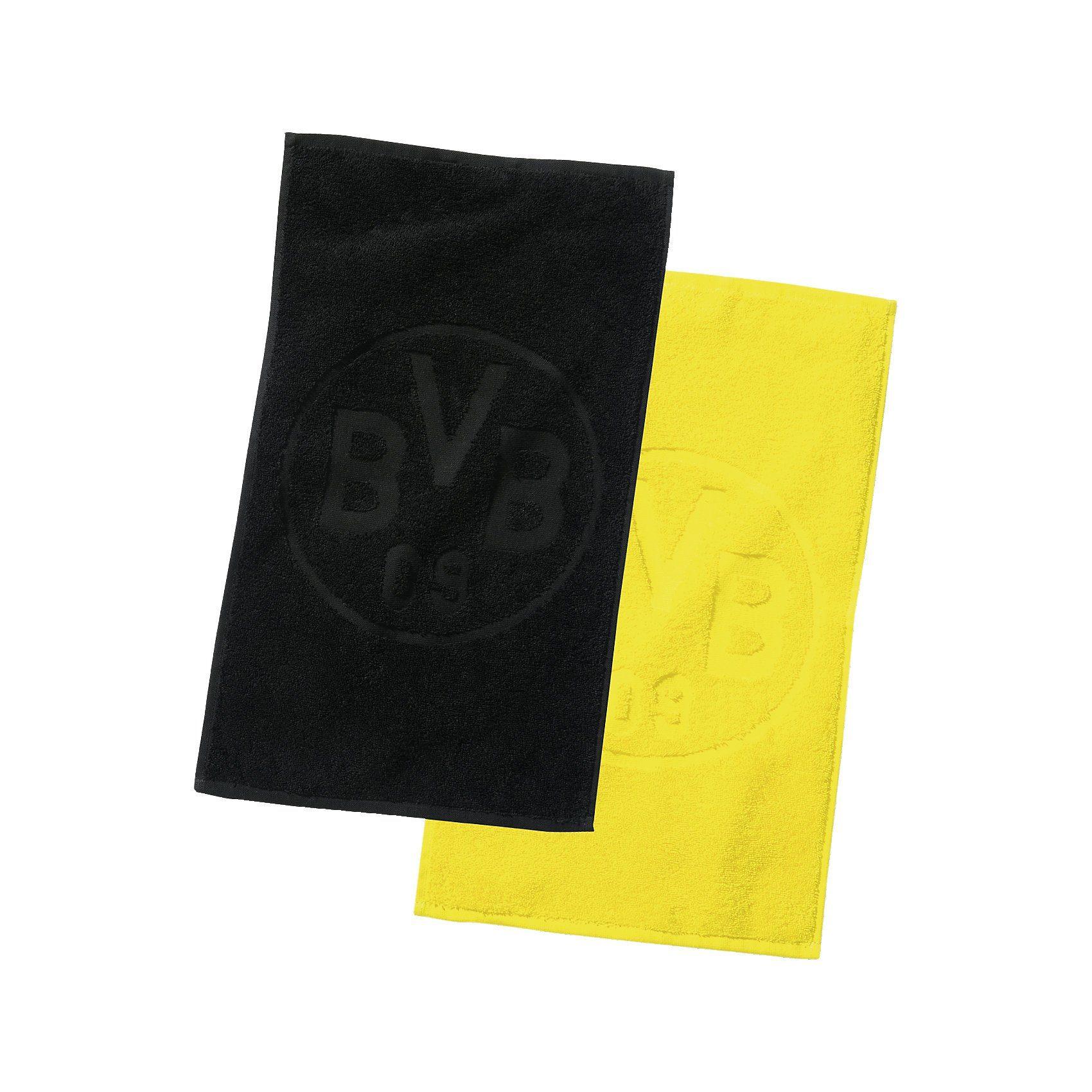 Borussia Dortmund Gästehandtücher BVB-Logo, Doppelpack, schwarz/gelb, 30 x 45